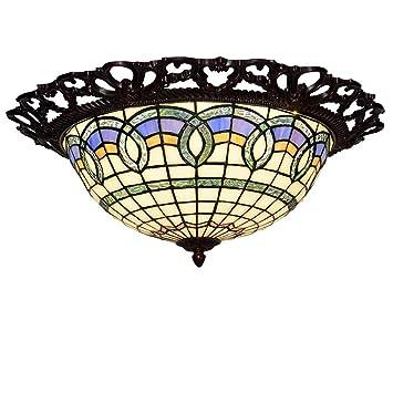 XNCH Luz de Techo Estilo Tiffany, lámpara de Techo barroca ...