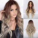 FORCUTEU Long Wavy Synthetic Wigs Ombre Ash Blonde Middle Part Looking Natural Hair Wigs for Women Cosplay Wigs Heat…