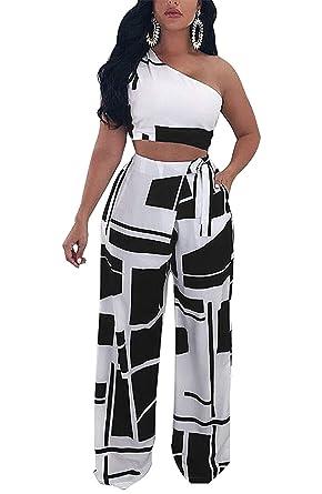 662d1a2af5e Rela Bota Women s One Shoulder 2 Piece Outfit Crop Top and Pants Jumpsuits  Set Small Light