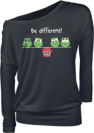 Mujer Camiseta Negro Ancho Be Different
