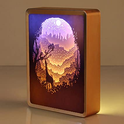 Womhope Abs Frame Papercut Light Boxes Night Lights Paper Sculptures Night Light Lamp Of Creative Shadow Paintings Forest