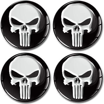 Skinoeu 4 X 60mm 3d Gel Silikon Autoaufkleber Stickers Punisher Totenkopf Totenschädel Skull Felgenaufkleber Für Radkappen Nabenkappen Radnabendeckel Rad Aufkleber Nabendeckel Auto Tuning A 160 Auto