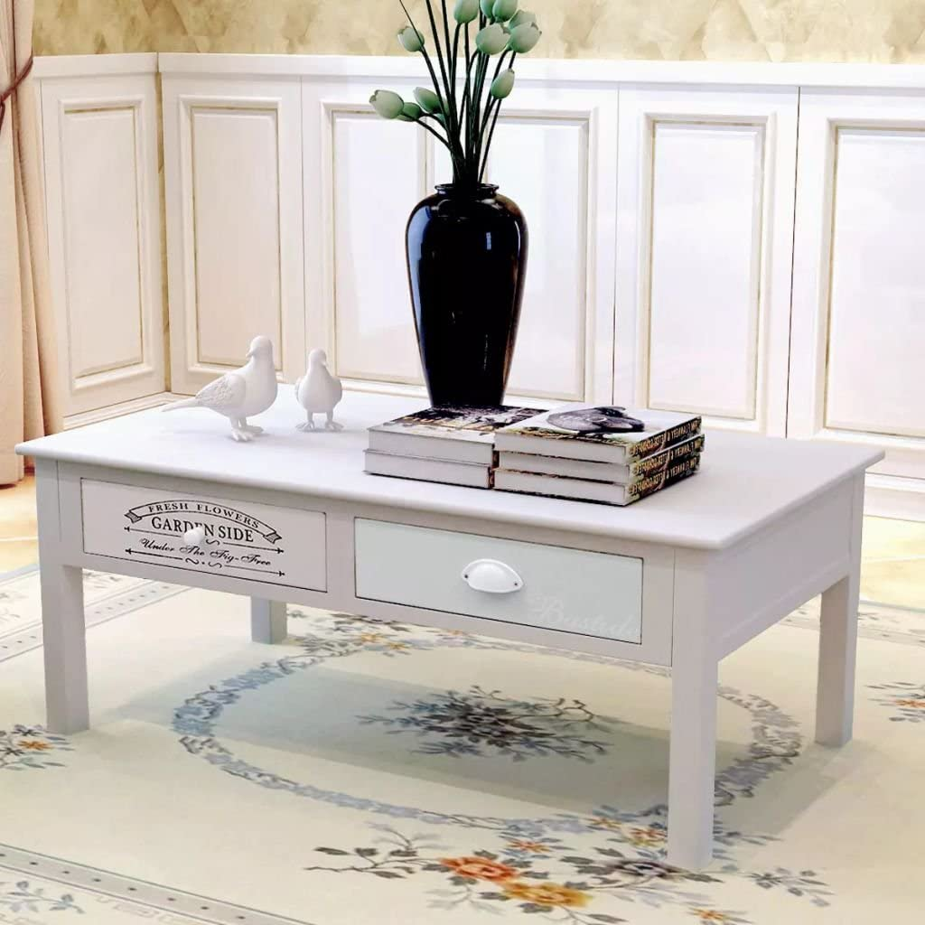 - Luckyfu This French Shabby Chic Wooden Coffee Table.Unique And