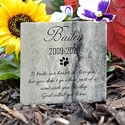 TULLUN Personalized Memorial Marble Stone Plaque for Pet Cat Dog Frame Paw Grave Marker - Name and Date - Size |10 x 10 cm| : Pet Supplies