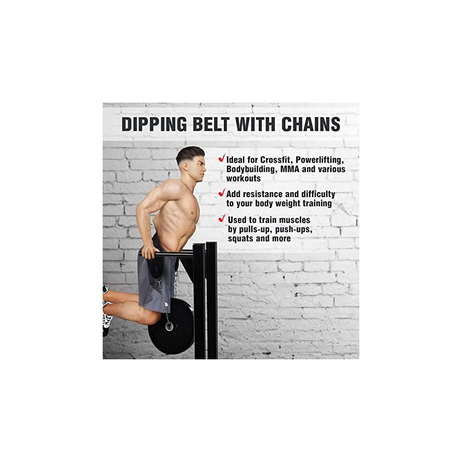 Yes4All Dipping Belt/Weight Belt with Chain for Powerlifting, Bodybuilding, Weighted Pull Up & Dip – Eva Composite Padding & Support up to 551 lbs