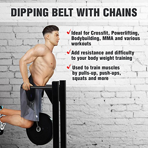 Yes4All Dipping Belt / Weight Belt with Chain for Powerlifting, Bodybuilding, Weighted Pull Up & Dip – Eva Composite Padding & Support up to 551 lbs