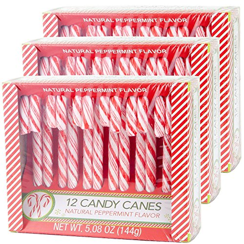 (Candy Cane Peppermint Flavored | 12 Pieces in Each Box - Net 5.08 Oz Pack of 3 - 36 Total Count | Individually Wrapped (Peppermint))