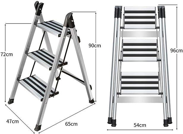 Xsgsgfs Escaleras Plegables peldaños, Escalera de Aluminio de 2/3 escalones, Escalera de Uso doméstico, Peso Ligero 3 kg, Paso a Paso Multiusos Plegable con tapete Antideslizante (Size : 3 Steps): Amazon.es: Hogar