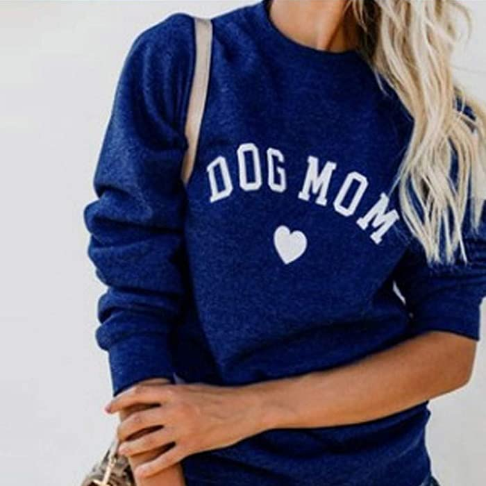 d4ed8a5ec FRCOLT Womens Dog Cat Mom Print Long Sleeve Sweater Splicing Sweatshirt Blouse  Tops (S