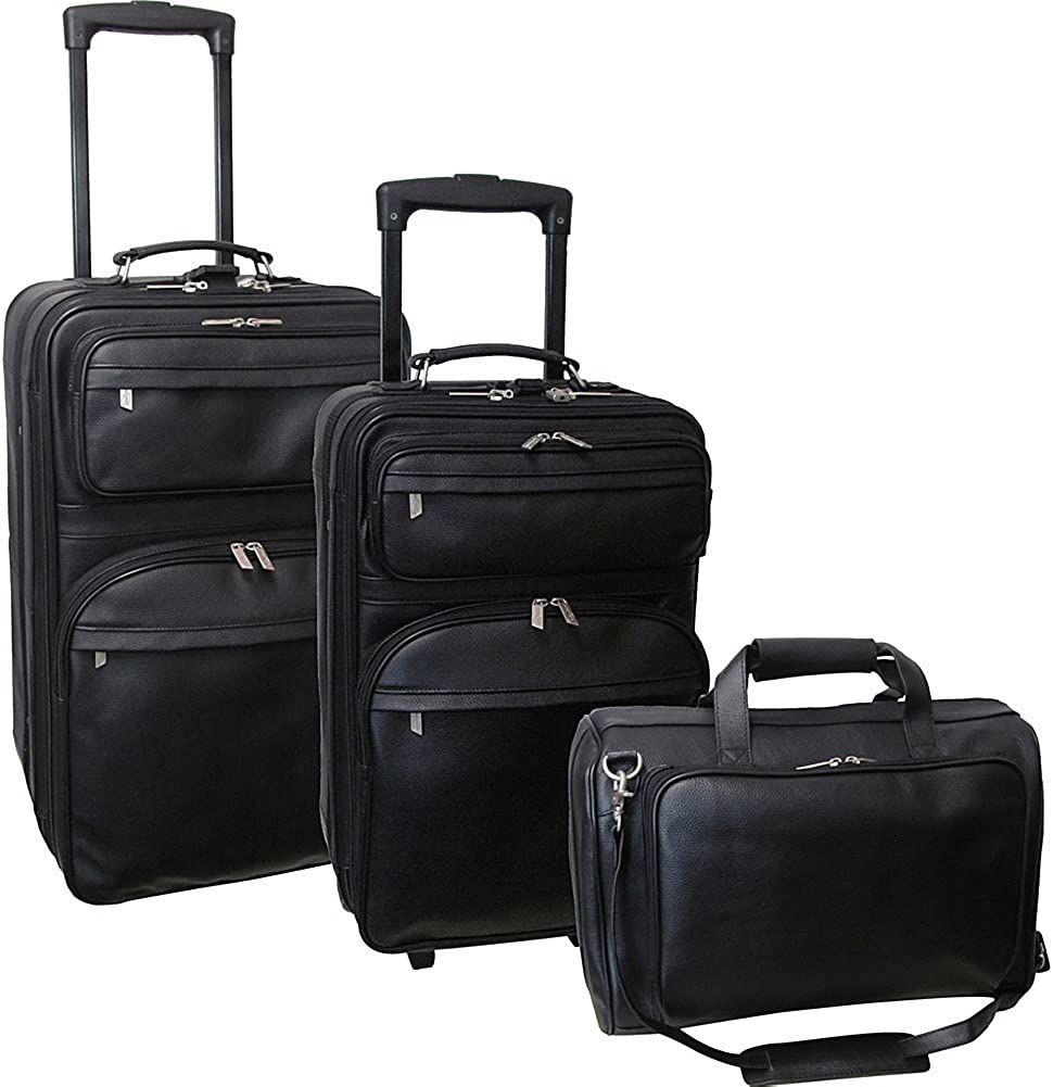 Amerileather Black Leather Three Piece Set Traveler (#8003-0)