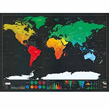 Amazon Nopteg 世界地図 ポスター スクラッチマップ スクラッチ