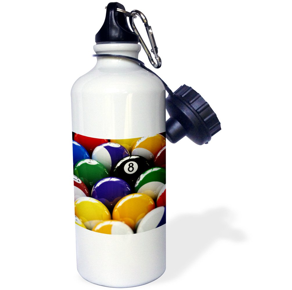White 3dRose wb/_154988/_1Colorful pool billiard balls with eight ball Sports Water Bottle 21 oz