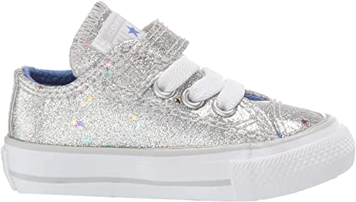 Converse Chuck Taylor All Star 1V Galaxy Glimmer Argent Synthétique Bébé Formateurs Chaussures