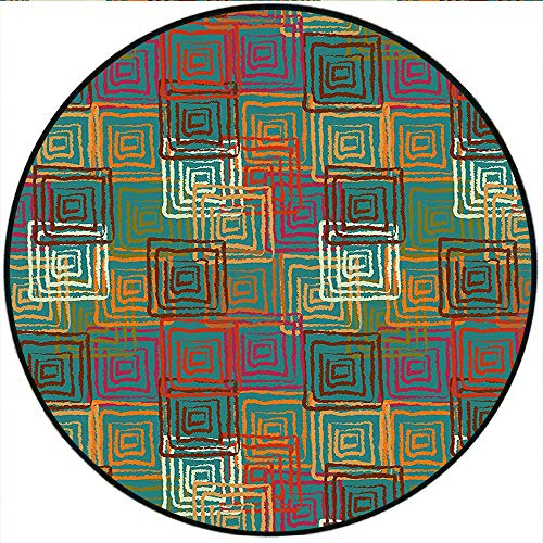 Short Plush Round Rug Geometric Abstract Grunge Pattern with Folk Rainbow Ornament Squares Distressed Backdrop Color Living Room Coffee Table 47.2