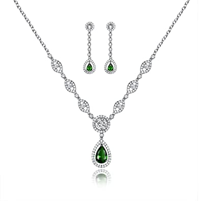 GULICX AAA Cubic Zirconia CZ Women's Party Jewelry Set Fashion Earrings Pendant Necklace Silver Plated 8242v5
