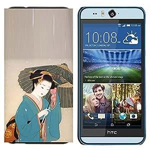 KLONGSHOP // Cubierta de piel con cierre a presión Shell trasero duro de goma Protección Caso - Mujer japonesa bajo el paraguas - HTC Desire Eye M910x //