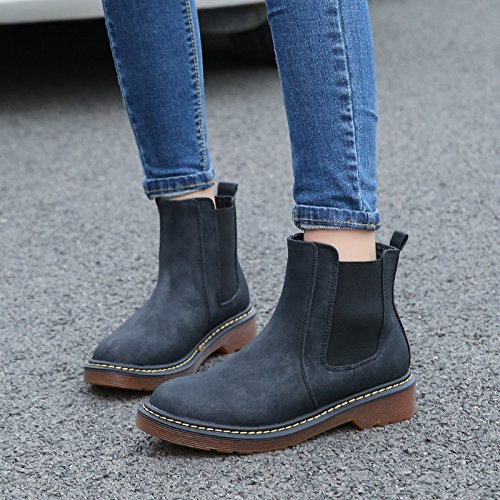 NSXZ Ankle Boots British Wind casual wipe round PU leather boots with thick boots with flat bottom rough , 90*160cm