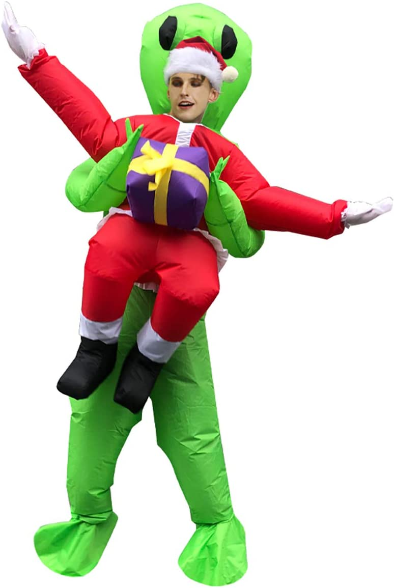 FIZZENN Divertido Inflable de Alien Secuestro de Santa/del árbol de Navidad del Traje de los Trajes inflables Adultos de Disfraces de Halloween Blow Up de Vestuario