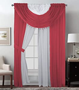 Sapphire Home Complete Window Sheer Curtain Panel Set with 4 Attached Panels (55x63 Each) and 2 Valances with Beads and 2 Tiebacks - Easy Installation- Multicolor 63