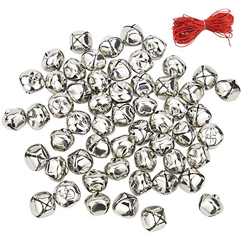 Polar Jingle Bell - Outuxed 1 Inch Jingle Bells Christmas Silver Jingle Bells Craft ( 50 Pack ) for Festival Decoration DIY Craft & 20-Meter Red Cord