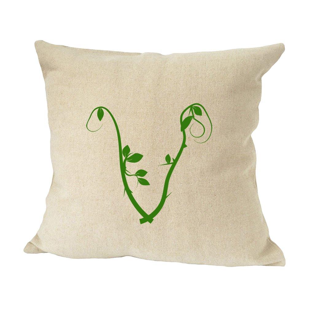 ''V '' Wood Branch Green Monogram Letter V Bed Home Decor Faux Linen Pillow Cover