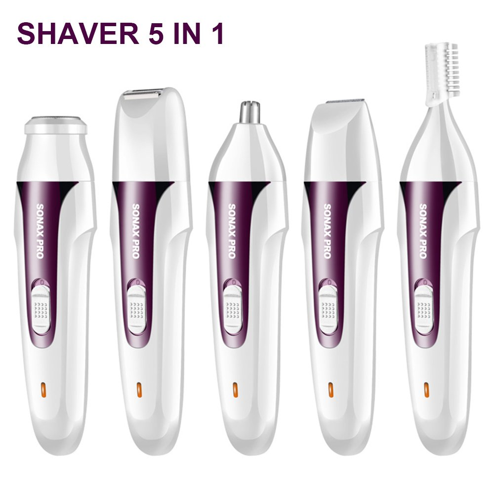 LinStar Lady Shaver, Cordless Electric Hair Removal Epilator 5 in 1  Rechargeable Razor Women Bikini Trimmer Bikini Trimmer
