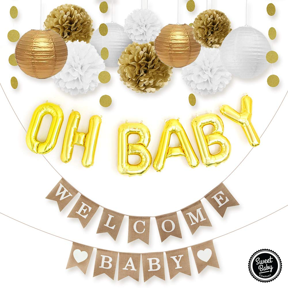Sweet Baby Co. Baby Shower Decorations Neutral For Boy or Girl With Welcome Baby Banner, Oh Baby Foil Balloon, Paper Lanterns, Tissue Paper Pom Poms, Circle Garland | Rustic Gold and White Gender Neutral Baby Shower Decorations Set by Sweet Baby Company (Image #3)