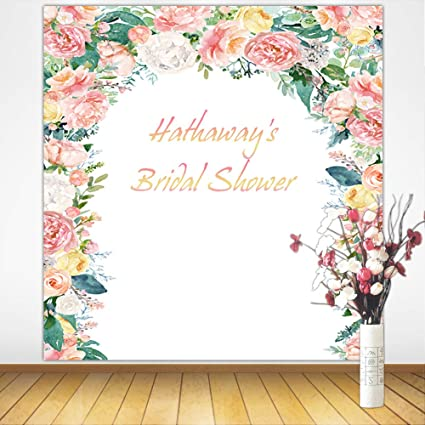 mehofoto customized bridal shower backdrop 8x8ft poly cotton personalized floral background custom size name color bridal