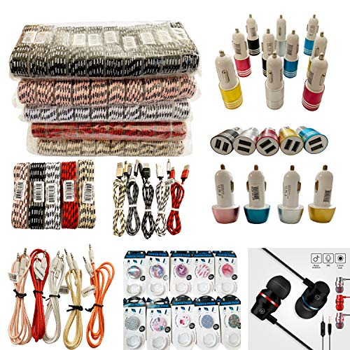 (100-Packs) Unicorn's Premium Cell Phone Accessories Mix Lot (Braided Charging Cables, Car Chargers, Aux Cables, Earphones, Phone Popup Holders) Wholesale Bulk Lot from Unicorn Trade