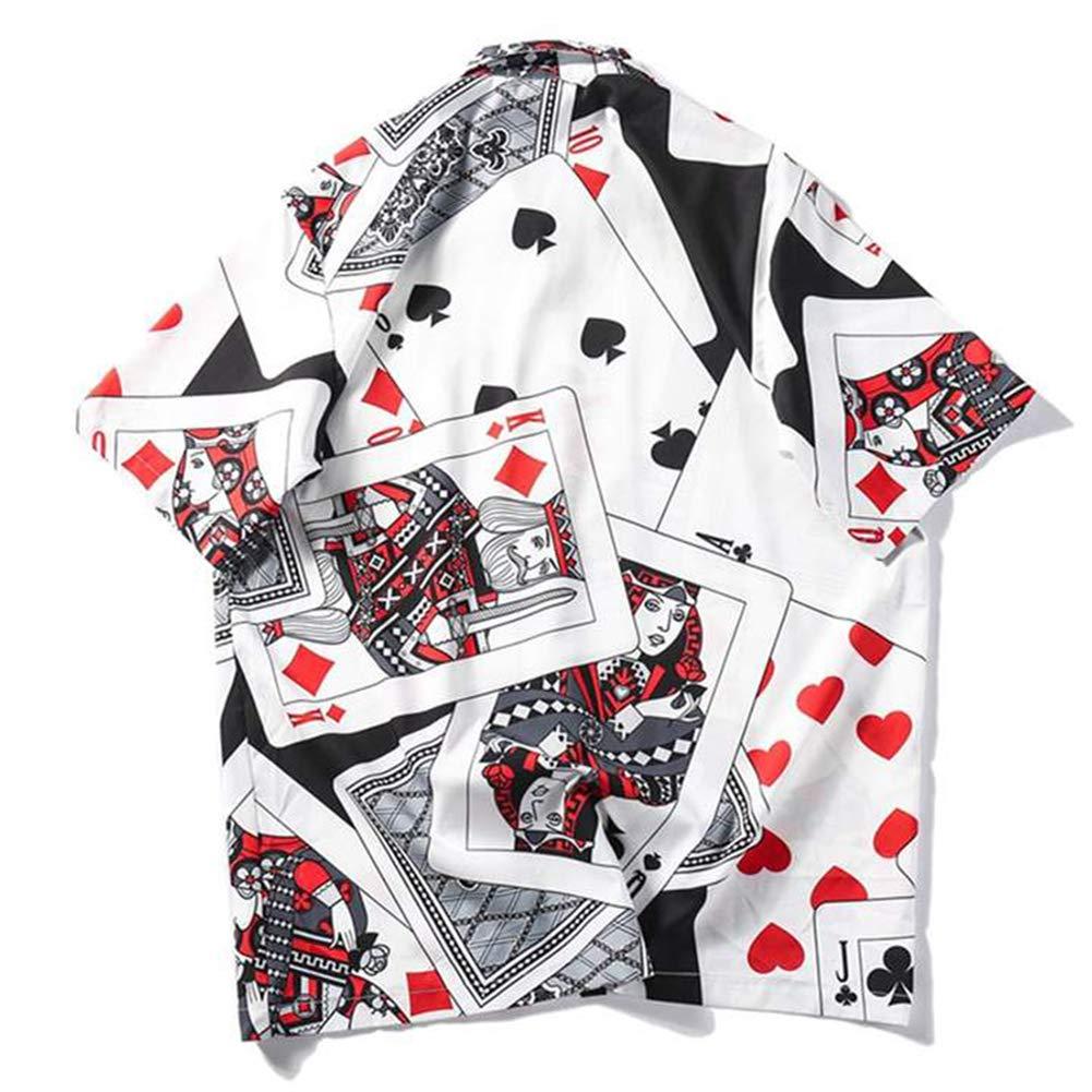 AELFRIC EDEN Mens Collar Joker Shirts Short Sleeve Poker Printing Casual Shirt