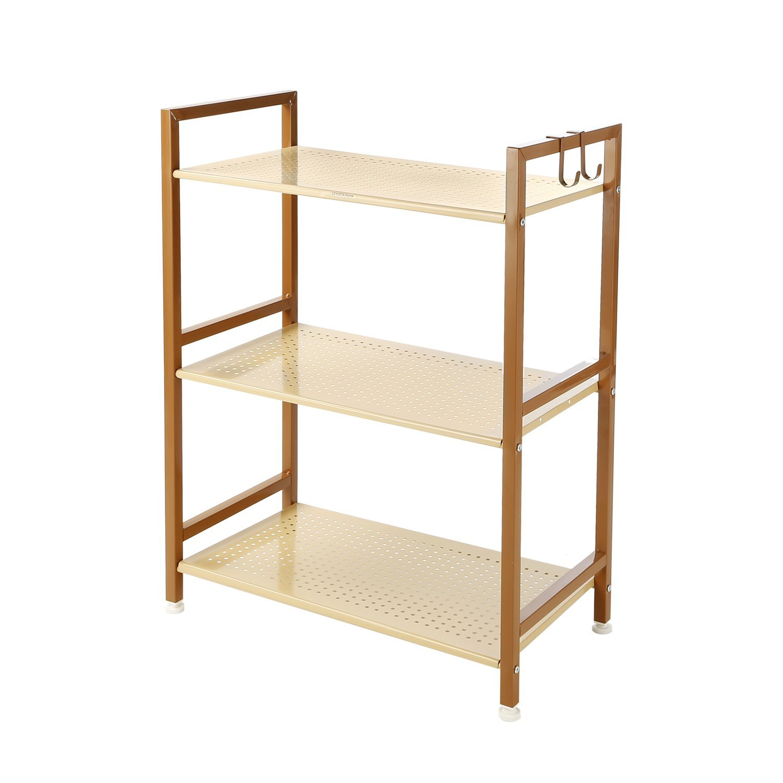 3 Tier Shelving Unit Heavy Duty Kitchen Home Storage Rack With Hook, Metal, GEYUEYA Home