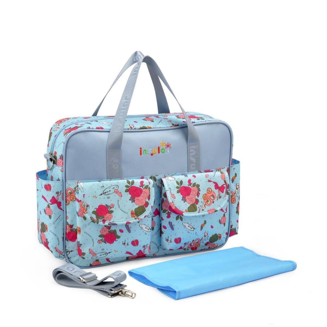 Outsta Mochila de pañales con diseño floral, multifunción, bolsa de viaje impermeable para el cuidado del bebé, bolsa de lactancia para niños de gran ...