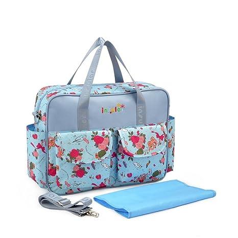 Outsta Mochila de pañales con diseño floral, multifunción, bolsa de viaje impermeable para el