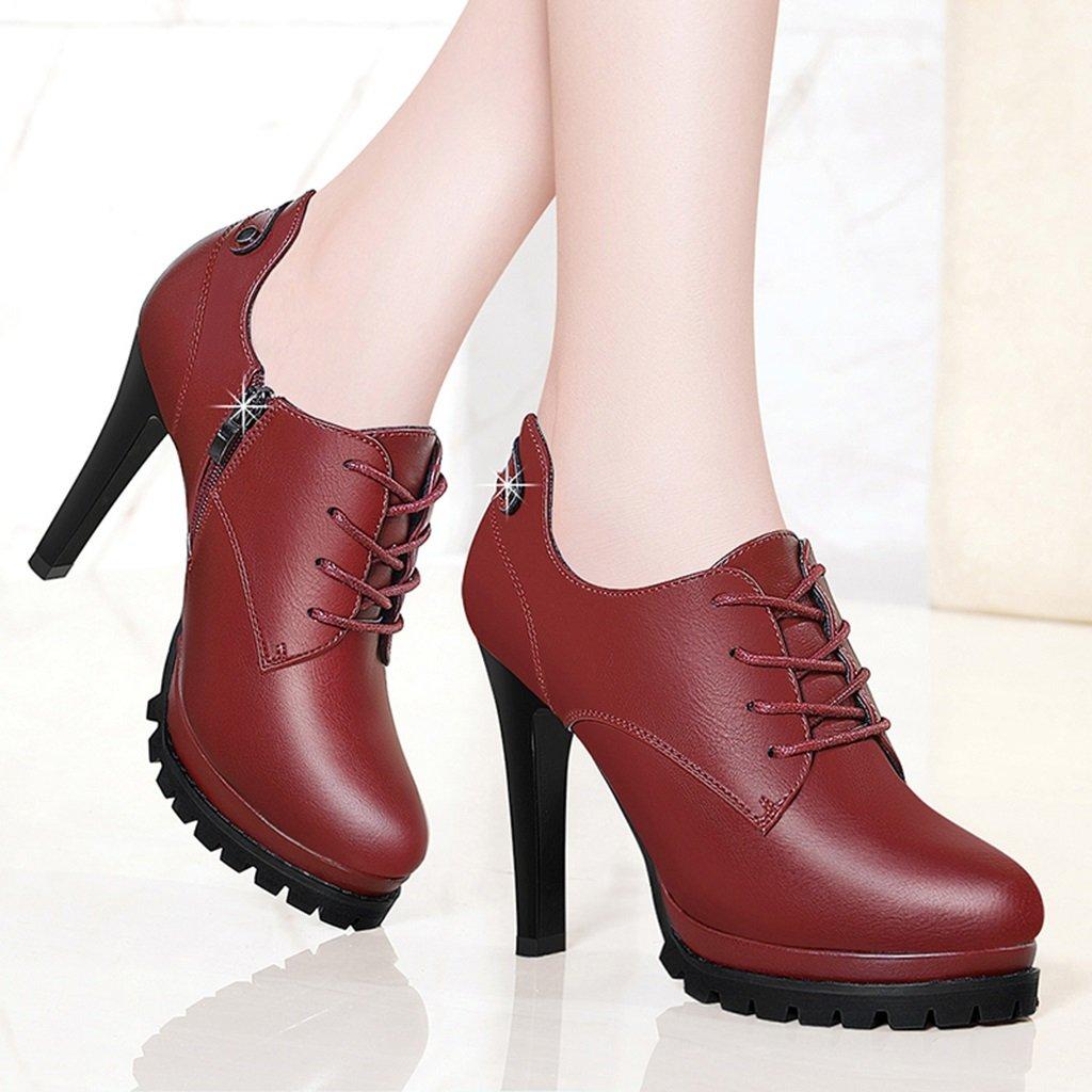 Damenschuhe HWF Frühlings-Leder-dünne Fersen-einzelne Schuh-Flache Mund-Frauen beschuht hohe Absätze (Farbe größe   Rot größe (Farbe   37) 5f9457