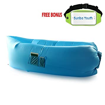 Marvelous Outdoor Inflatable Lounger, SunbaYouth Bean Bag Chair Convenient Hangout  Lounger Nylon Fabric Compression Air Bag