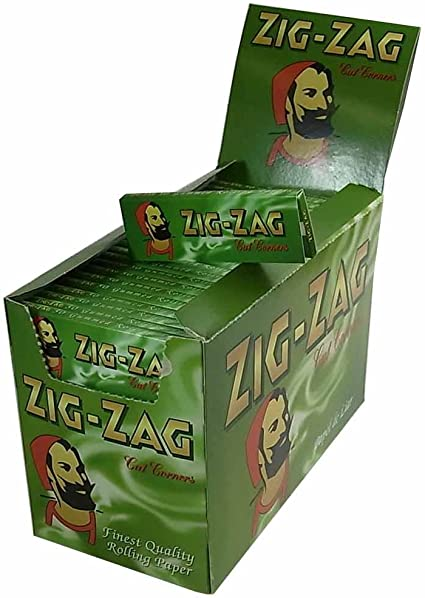 FULL BOX of 100 BOOKLETS Zig Zag Green Tobacco Rolling Papers Cut Corner