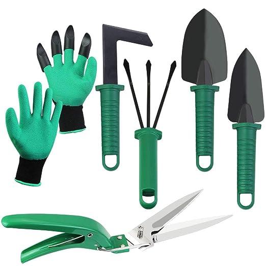 BUZIFU 6pcs Herramientas de Jardinería, Kit de Jardinería, Incluye ...