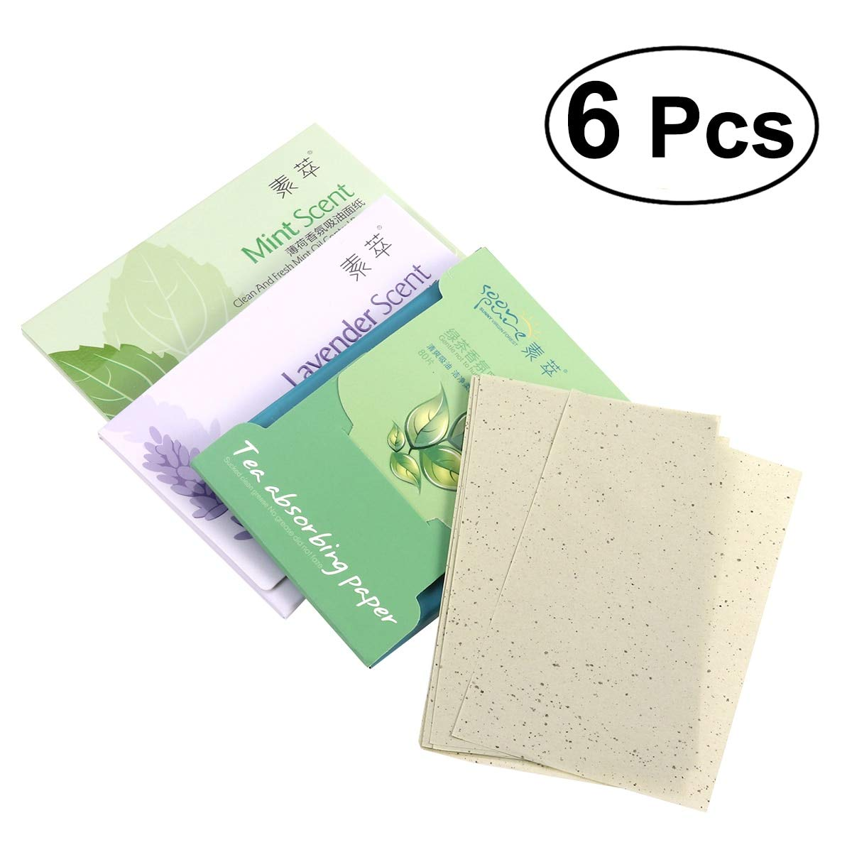 Gift-4Car - 6 Pack Oil Absorbing Paper Sheets Tissues Oil Blotting Papers for Face (Green Teax2 + Lavenderx2 + Mintx2)
