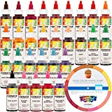 30 Food Color Set of Chefmaster by US Cake Supply Liqua-Gel 2.3-Ounce Cake Food Coloring 30 Bottle Kit with Color Mixing Wheel