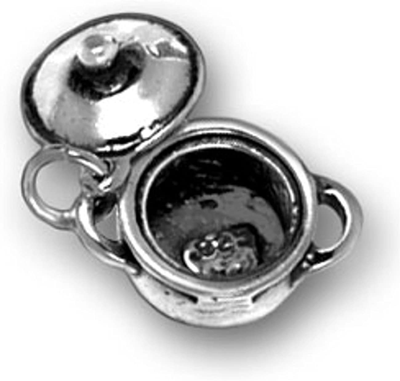 Sterling Silver 7 4.5mm Charm Bracelet With Attached 3D Kitchen Cooks Iron Kettle Cooking Charm