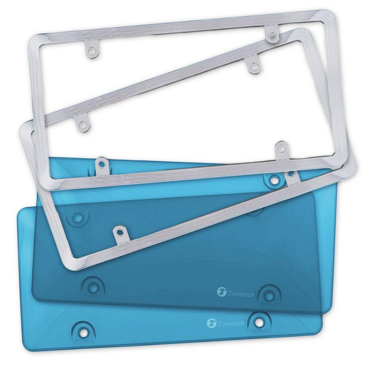 Zone Tech 2 Blue Tinted Tough Bubble License Plate Frame