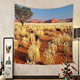 Gzhihine Custom tapestry Landscape Tapestry Acacia Tree Desert Sossusvlei Namibia Southern Africa Photo for Bedroom Living Room Dorm 60 W X 40 L Marigold Sky Blue and Green