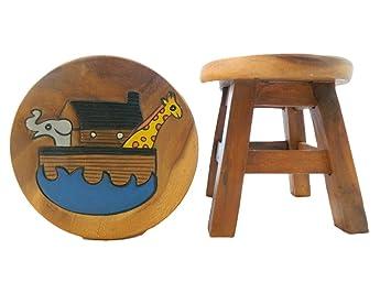 Thai gifts childs sgabello in legno per bambini arca di noè
