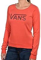 Vans Women's Van Drop Logo Crew Sweatshirt-Heather Red