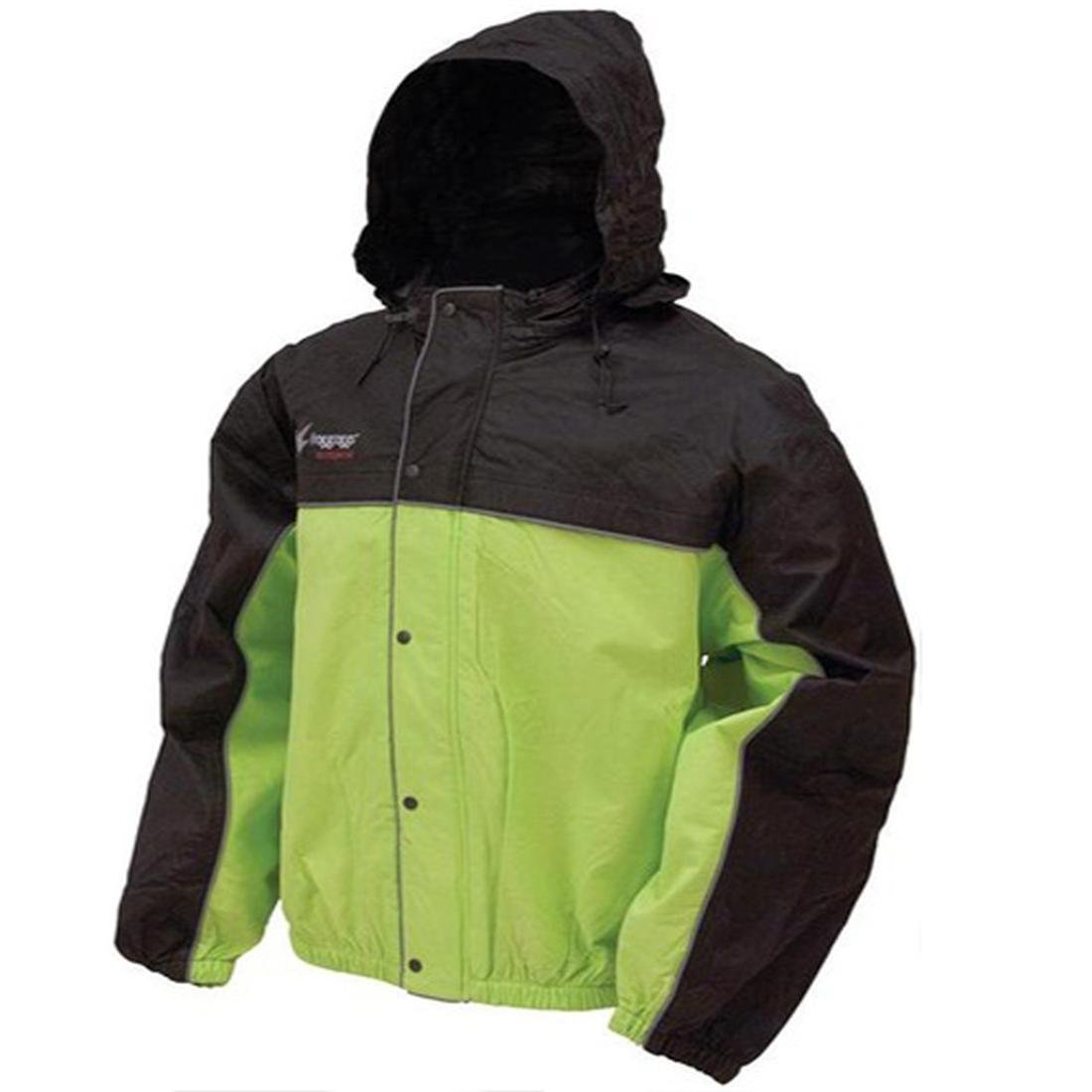 Frogg Toggs Road Toad Rain Jacket - X-Large/Black/Hi-Viz Green