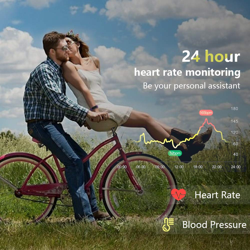 moreFit Waterproof Activity Tracker, Fitness Tracker Color Screen Smart Watch, Blood Pressure Watch With Sleep Monitors, Heart Rate Calorie Pedometers Call/SMS Alert For Women Men Students Kids Purple by moreFit (Image #3)