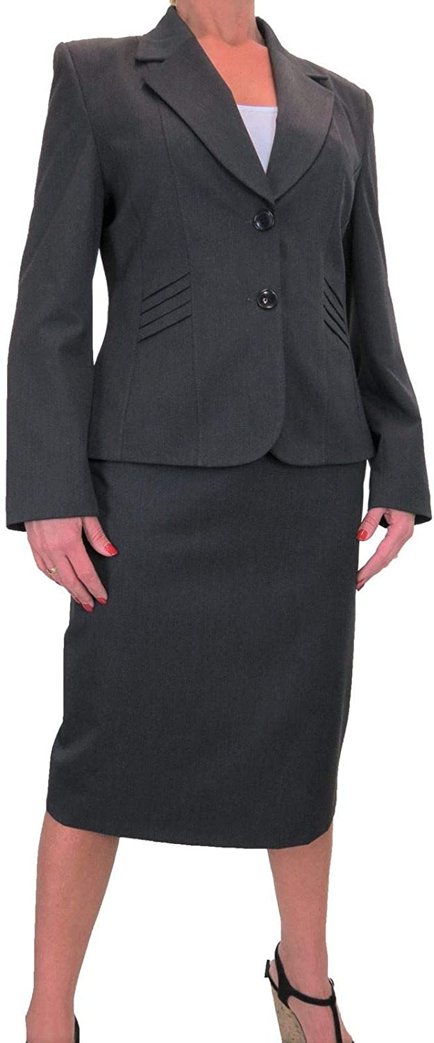 Womens 2 Piece Formal Business Suit Office Work Blazer Jacket Skirt Suit Fully Lined Grey 14-22