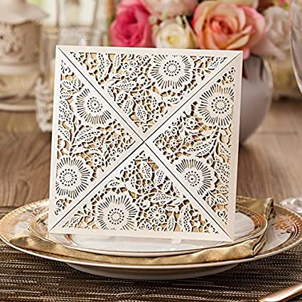 Amazon Com 50 Pieces Classic White Floral Lace Wedding Invitation