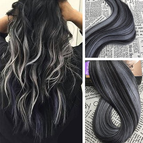 Moresoo 20 Inch 40pcs/100g Remy Extensions Tape in Human Hair Seamless Skin Weft Hair Extensions #1B Off Black Highlighted with Silver Color Balayage Extensions Human Hair Full Head Set Glue on Hair