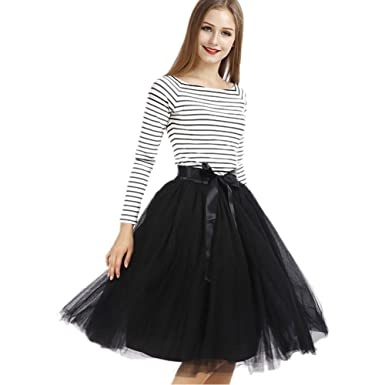 b9bce3789 Tyhbelle Womens 7 Layers Midi Tulle Skirt Tutu Skirts Petticoat Ball Gown  Paty Ballet Mesh Skirts